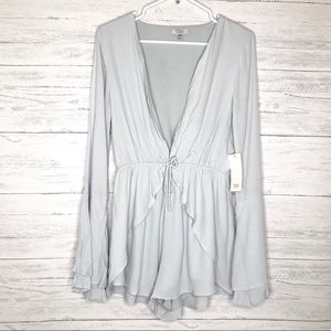 Light Blue Deep V Neck Ruffle Bell Sleeve Romper